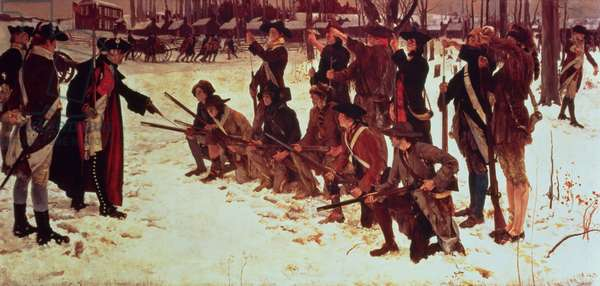 Baron von Steuben drilling American recruits at Valley Forge in 1778, 1911 (oil on canvas)