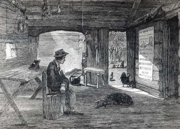 Interior of a settler's hut in Australia, from 'The Illustrated London News', 1849 (litho)