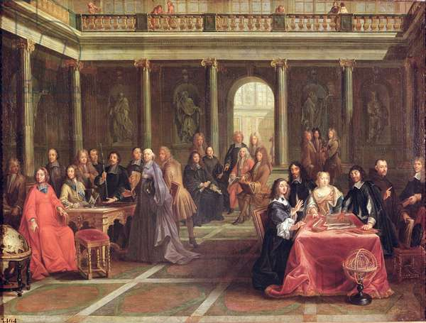 Queen Christina of Sweden (1626-89) surrounded by courtiers and men of learning