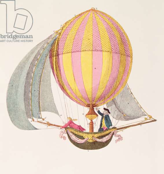 Design for a dirigible, French, c.1785 (engraving)