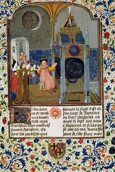 2095 Fr. 455 f.9 The household admiring the master's rare clock from a treatise on morality, mid-15th century (vellum)