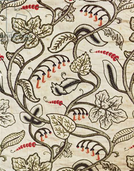 Crewel-work hanging of a floral design, late 17th century (wool embroidery on linen)