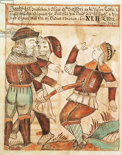 Ny Kgl Saml 1867.4, s.95v The Killing of Balder (pen & ink and w/c on paper) (see also 169947)