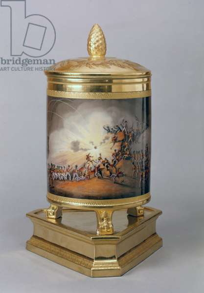 Covered pot depicting the Storming of Ciudad Rodrigo, from the Prussian Dinner Service, Berlin, 1816-19 (porcelain & gilt)