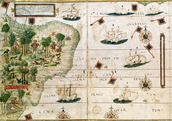 Brazil from the 'Miller Atlas' by Pedro Reinel, c.1519 (see 199955 for detail)
