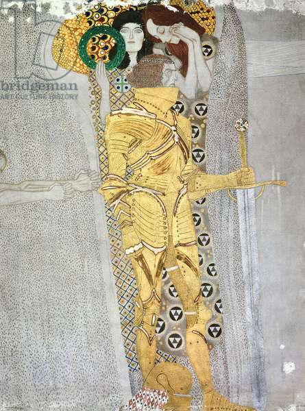 The Knight detail of the Beethoven Frieze, said to be a portrait of Gustav Mahler (1860-1911), 1902 (fresco)