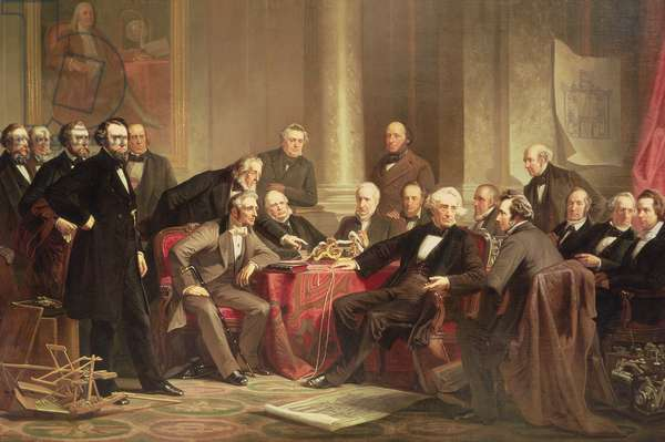 Men of Progress: group portrait of the great American inventors of the Victorian Age, 1862 (oil on canvas)