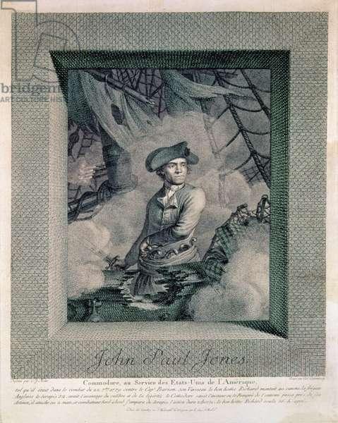 Portrait of John Paul Jones, engraved by Carl Guttenberg (1743-90), c.1781 (engraving)