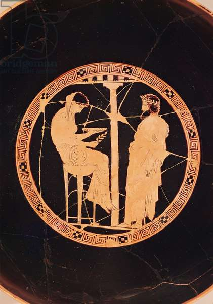 Athenian red-figure kylix depicting Aegeus, King of Athens, consulting the Delphic Oracle (pottery)