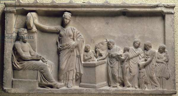 Votive relief depicting a family sacrificing a bull to Asclepius, the god of health and his daughter, Hygieia, Greek, 5th century BC (marble)