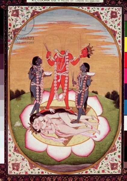 Icon of Chinnamasta, the Mahavidya arising from the joined bodies of the Originating Couple, Kangra, c.1800 (gouache on paper)
