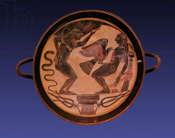 Black figure kylix depicting Atlas holding up the sky and Prometheus bound with an eagle picking out his liver, c.555 BC (pottery)