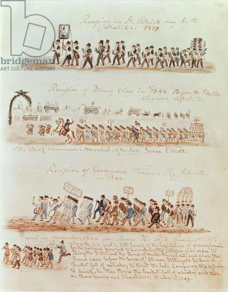 St. Patrick's Day procession in 1837 and processions for Henry Clay, Governor Francis Schunk and James Polk in 1844 (ink and w/c on paper)