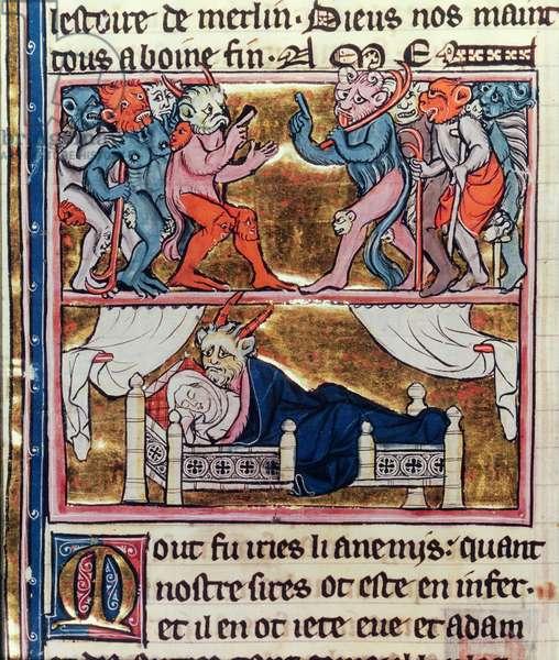 Ms Fr. 95 fol.113v Council of Demons, from 'l'Histoire de Merlin', c.1280-90 (vellum)