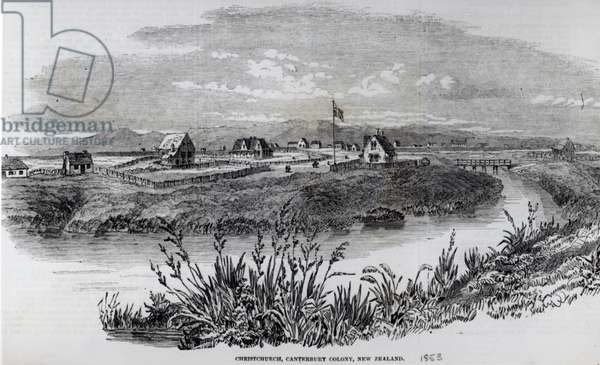 Christchurch, Canterbury Colony, New Zealand, from 'The Illustrated London News', 9th April 1853 (litho)