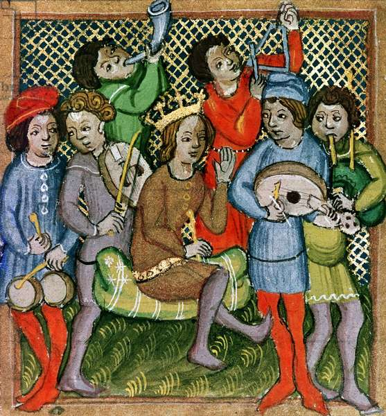 Seated crowned figure surrounded by musicians playing the lute, bagpipes, triangle, horn, viola and drums (manuscript)