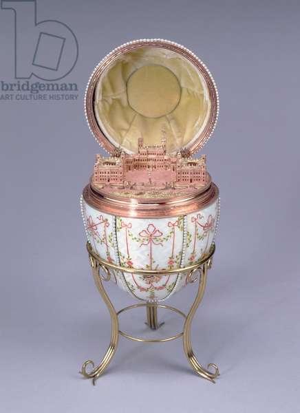Gatchina Palace Egg, made by Mikhail Perkhin (fl.1884-1903) 1901 (gold, en plein enamel & seed pearls)
