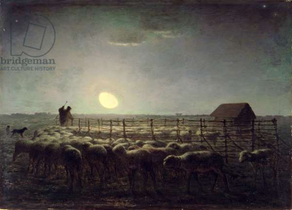The Sheepfold, Moonlight, 1856-60 (oil on panel)