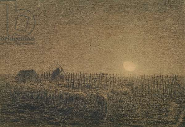 The Shepherd at the Fold by Moonlight (charcoal on paper)