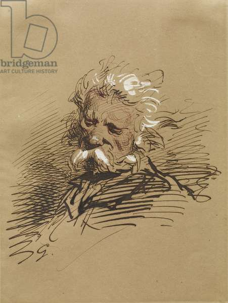 Head of an Old Man, c.1857 (ink heightened with white on paper)
