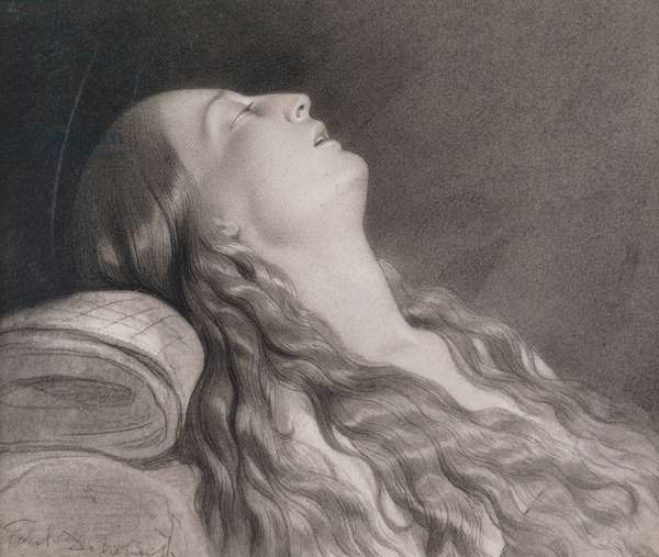 Louise Vernet on her Death Bed (graphite on paper)