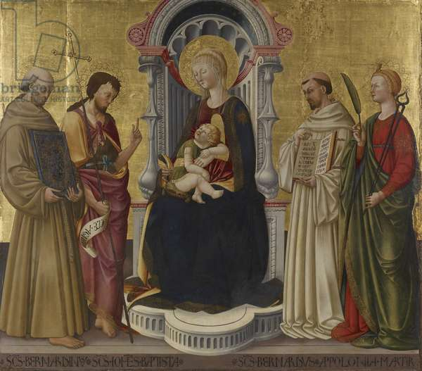 Virgin and Child Enthroned with Four Saints, c.1450 (tempera and gold on panel)
