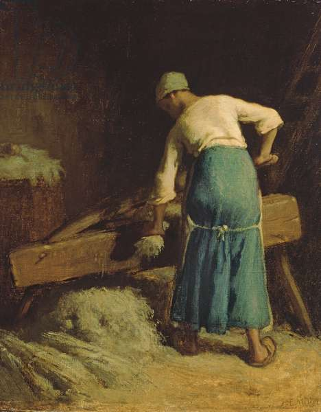 Breaking Flax, c.1850-51 (oil on canvas)