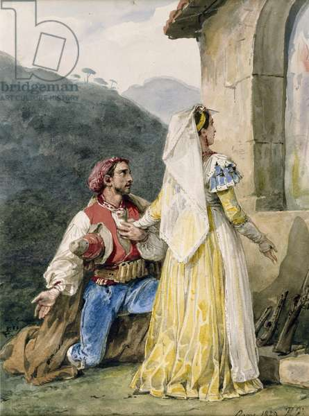 Italian peasants before a shrine, 1829 (w/c on paper heightened with gum)