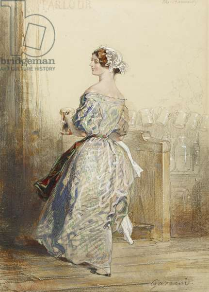 The Barmaid, c.1850 (w/c, crayon and graphite heightened with white on paper)