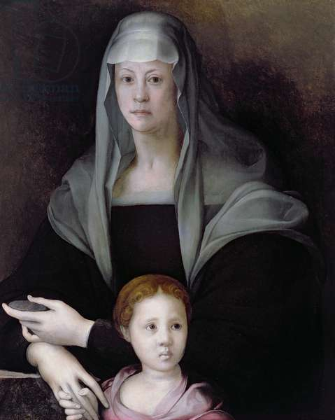 Portrait of Maria Salviati with Giulia de' Medici, c.1539 (oil on panel)