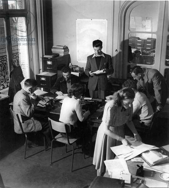 French Polar Expeditions Office in the family apartment of Paul-Emile Victor, avenue de la Grande-Armée, Paris, France, 1948 (b/w photo)