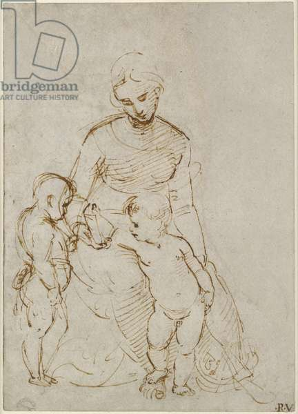 Recto: The Virgin and Child with St John (The Madonna del Cardellino), WA1846.160 (pen & brown ink over blind stylus, some traces of lead or chalk)