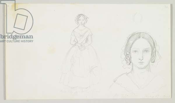 Self-Portrait of Queen Victoria, dated May 19 1845 (pencil on paper)