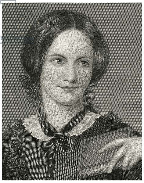 Charlotte Bronte (1816-55), English Novelist and Poet, Head and Shoulders Portrait, Steel Engraving, Portrait Gallery of Eminent Men and Women of Europe and America by Evert A. Duyckinck, Published by Henry J. Johnson, Johnson, Wilson & Company, New York, 1873 (print)