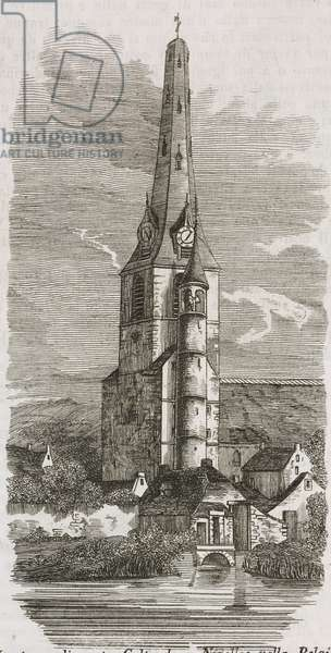 Tower of St Gertrude in Nivelles, South Brabant, Belgium, engraving from L'album giornale letterario e di belle arti, February 9, 1850, Year 16