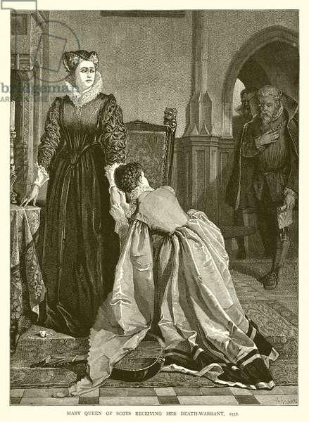 Mary Queen of Scots receiving her Death-Warrant, 1557 (engraving)