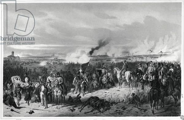 Battle of Novara (La battaglia di Novara), 19th Century (engraving)