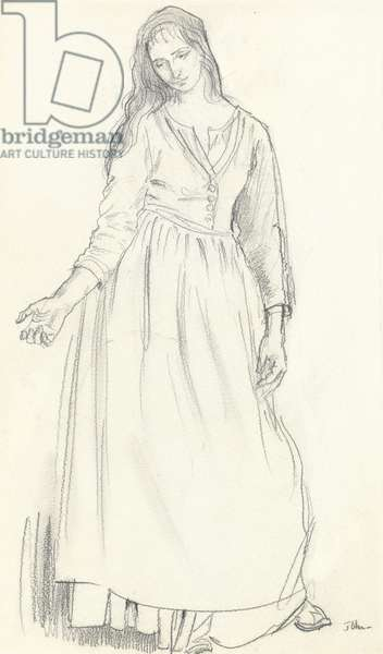 A girl posing, draped, with loose hair, c.1908 (graphite on paper)