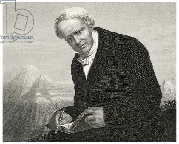 Alexander von Humboldt (1769-1859), German Naturalist and Explorer and Major Figure in the Classical Period of Physical Geography and Biogeography, Head and Shoulders Portrait, Steel Engraving, Portrait Gallery of Eminent Men and Women of Europe and America by Evert A. Duyckinck, Published by Henry J. Johnson, Johnson, Wilson & Company, New York, 1873 (print)
