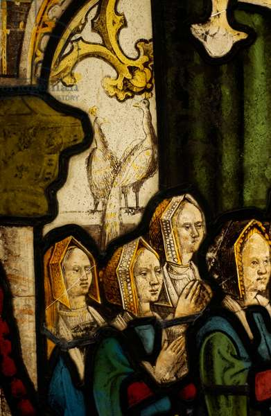 Detail of a stained glass panel, depicting the daughters of Sir Richard and Lady Anne Verney (stained glass)