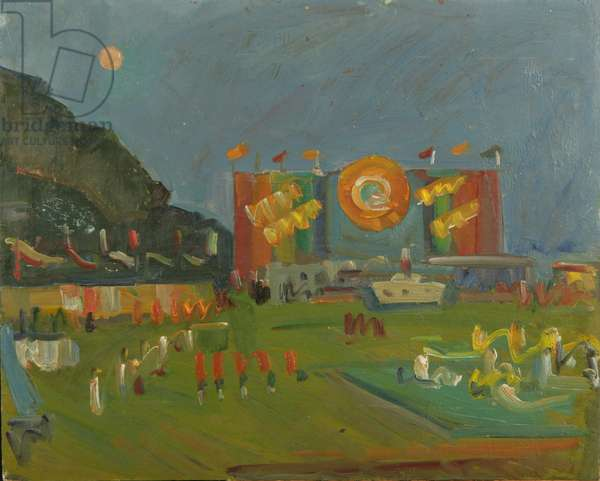 Pioneers' Celebration in Artek, 1960s (oil on card)