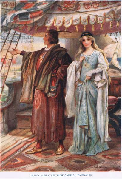 Prince Henry and Elsie sailing home (colour litho)