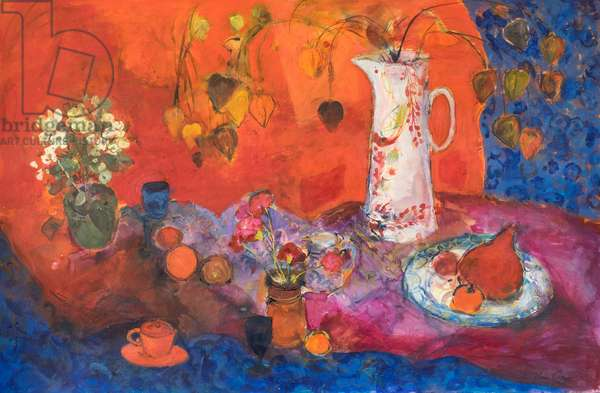 Red Still Life with White Jug and Fruit.