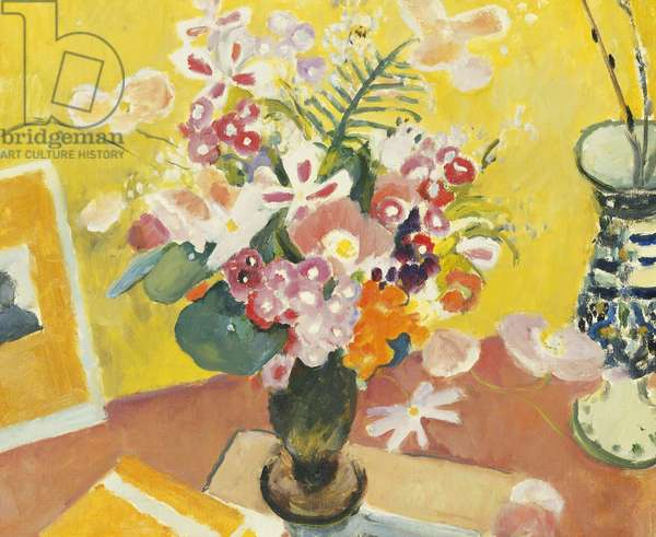 Spring Flowers in a Vase, (oil on canvas)