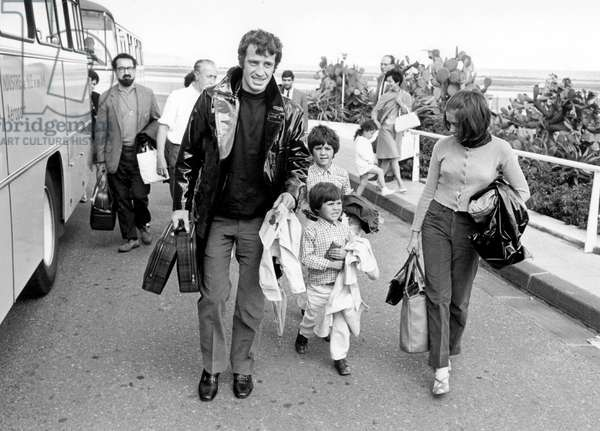 French Actor Jean Paul Belmondo With his Children Florence and Paul on The Riviera 1967 (b/w photo)