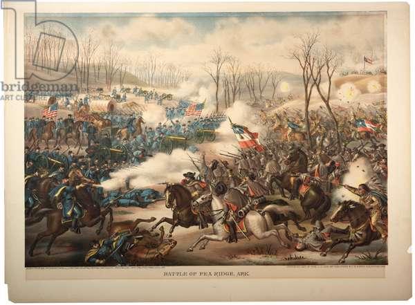 Battle of Pea Ridge, Ark, 1889 (colour litho)
