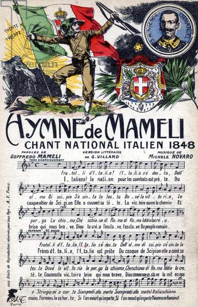 Postcard with the Musical Score for the 'Hymne de Mameli' (colour litho)