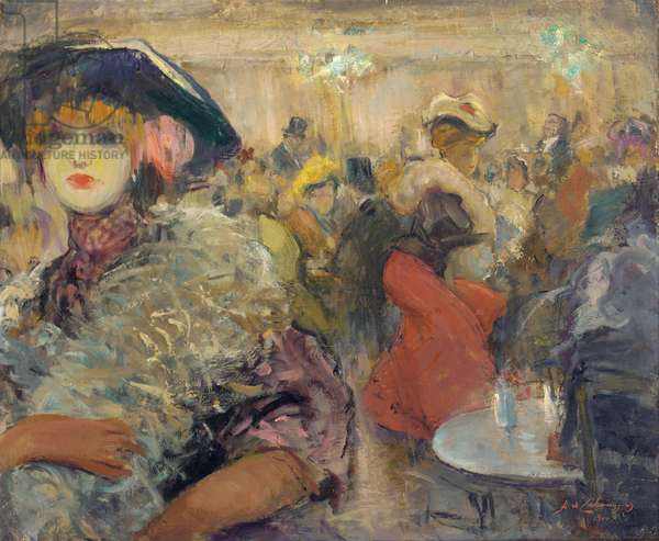 Cafe de Paris, 1900 (oil on canvas)
