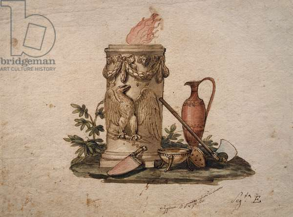 Column-shaped brazier, decorated with festoons and eagle, with cutting weapons, cup and amphora, painting by Andrea Appiani (1754-1817), Italy, 18th-19th century