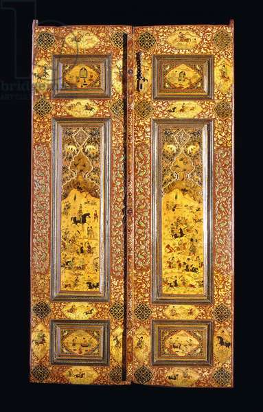 A pair of lacquer panelled doors, painted with Safavid style scenes of battle, 19th - early 20th century (lacquered wood)